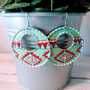 Large Sea Green Aztec Earrings
